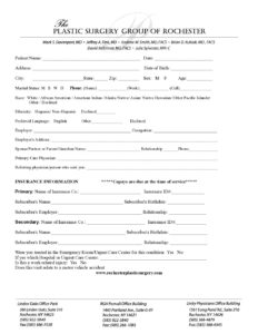 Patient Information Form – Rochester 2019